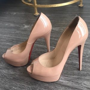 Christian Louboutin Peep Toe Nude Patent Leather